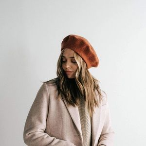 Rust terra-cotta wool french beret hat